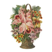 Large Orchid Flower Basket Scrap ~ Germany