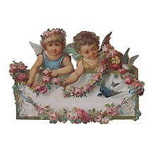 Large Cherubs & Flowers Scrap ~ Germany