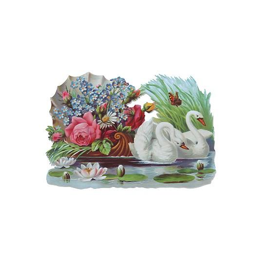 Large Swan & Floral Scrap ~ Germany