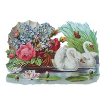 Large Swan & Floral Scrap ~ Germany