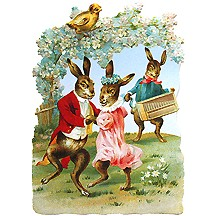 Large Dancing Bunnies Scrap ~ Germany