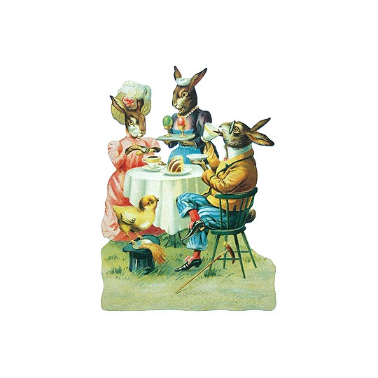 Large Bunnies Tea Party Scrap ~ Germany