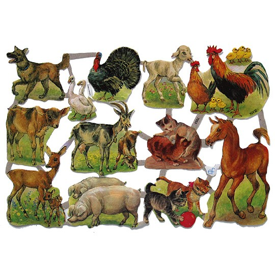 Various Farmyard Animals Scraps ~ Germany