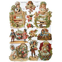 Victorian Children & Flowers Scraps ~ Germany