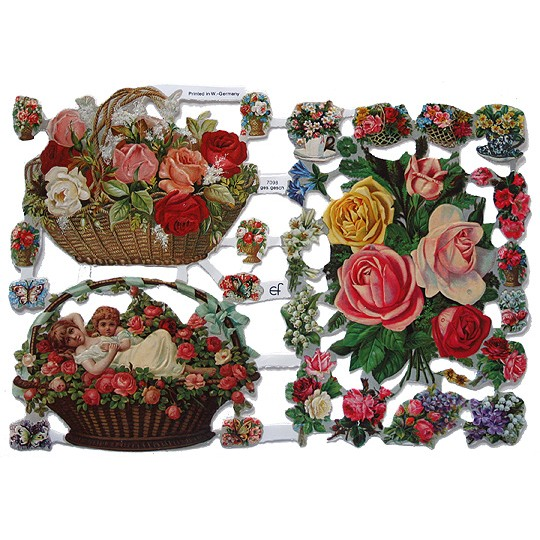 Large & Small Mixed Flowers Scraps ~ Germany