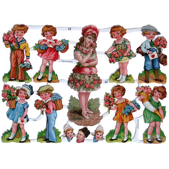 Children with Flowers Scraps ~ Germany