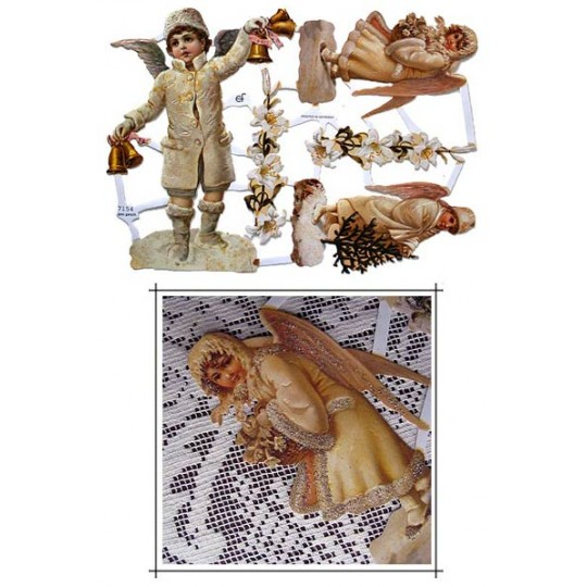 Snow Angel Children Scraps with Glitter ~ Germany