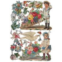 Victorian Children with Wheelbarrows & Flowers ~ Germany