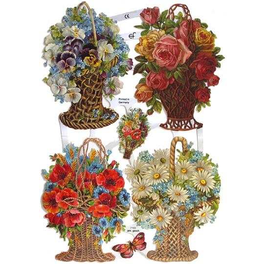 Pretty Flower Basket Scraps ~ Germany