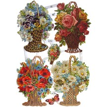 Pretty Flower Basket Scraps ~ Germany
