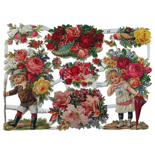 Pretty Victorian Children & Flowers Scraps ~ Germany