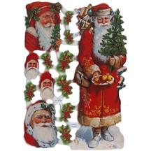 Santa and Holly Christmas Scraps ~ Germany