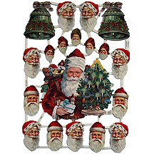 Santa & Bells Scraps with Glitter ~ Germany