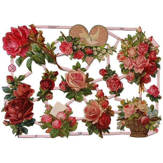 Pink Roses Floral Scraps ~ Germany