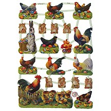 Easter Chick & Rooster Scraps ~ Germany