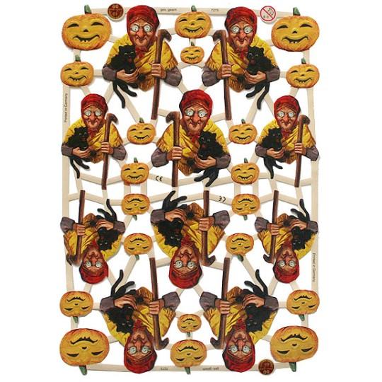 Witch & Pumpkin Halloween Scraps ~ Germany