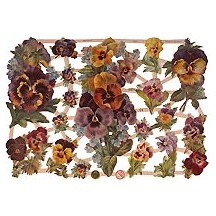 Pretty Pansy Scraps with Glitter ~ Germany