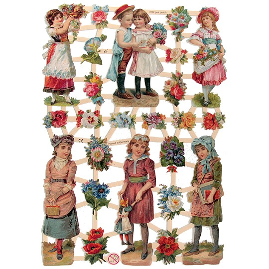 Old Fashioned Children & Flowers Scraps ~ Germany