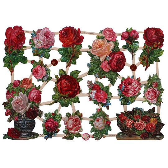 Red & Pink Roses Floral Scraps ~ Germany