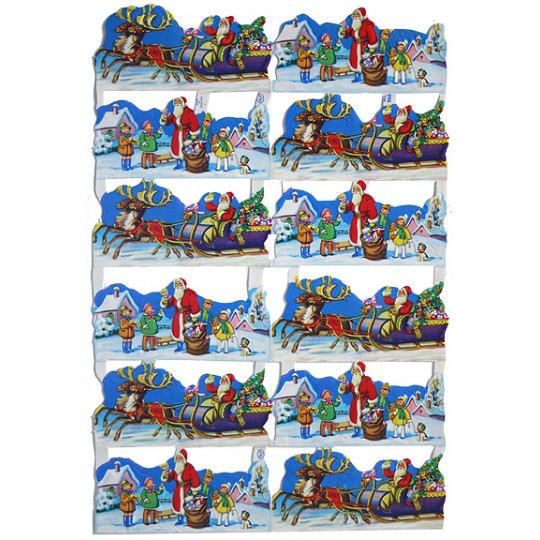 Vintage MLP Santas Sleigh & Children Christmas Scraps ~ England