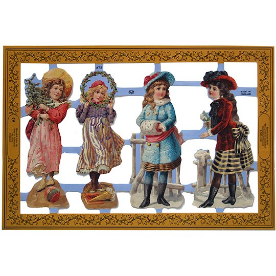 Christmas Decorations In Victorian England: Victorian Christmas Girls Scraps