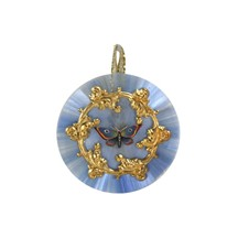 Spun Glass & Shell Butterfly Ornament ~ Blue