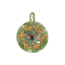 Spun Glass & Shell Butterfly Ornament ~ Green