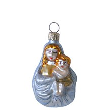 "Small Blown Glass Madonna & Child ~ Poland ~ 2-1/2"" tall"