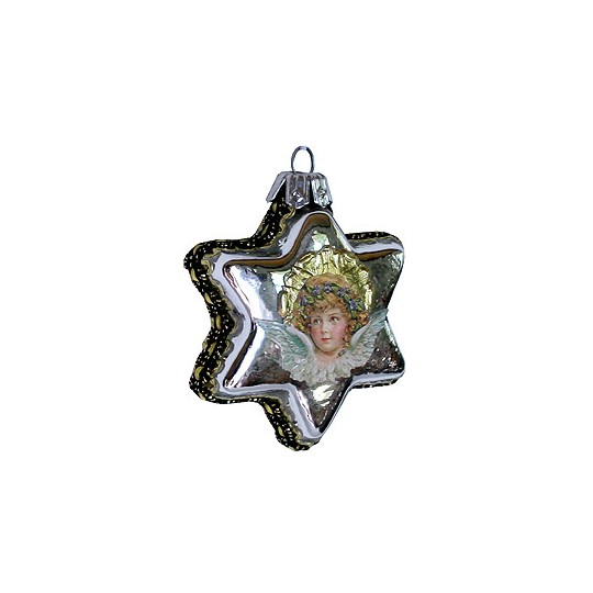 Angel on Shiny Silver Glass Star