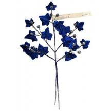 Sprig of Sapphire Blue Velvet Leaves & Berries ~ Vintage Germany