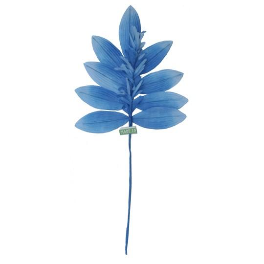 Sprig of Light Blue Ombre Silk Leaves with Tassels ~ Vintage Japan