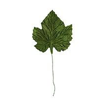 6 Green Embossed Velvet Maple Leaves ~ Vintage Japan