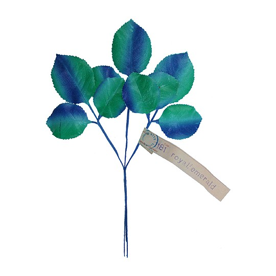 Sprig of Green & Blue Ombre Rose Leaves ~ Vintage Germany