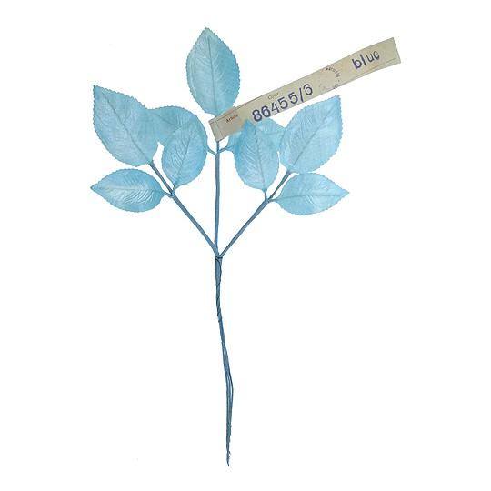 Sprig of Light Blue Pearlized Rose Leaves ~ Vintage Germany