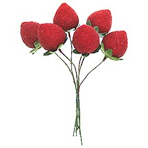"""6 Large Red Vintage Composition Strawberries ~ 7/8"""""""