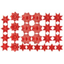 Red Dresden Foil Stars & Halos ~ 26 Assorted