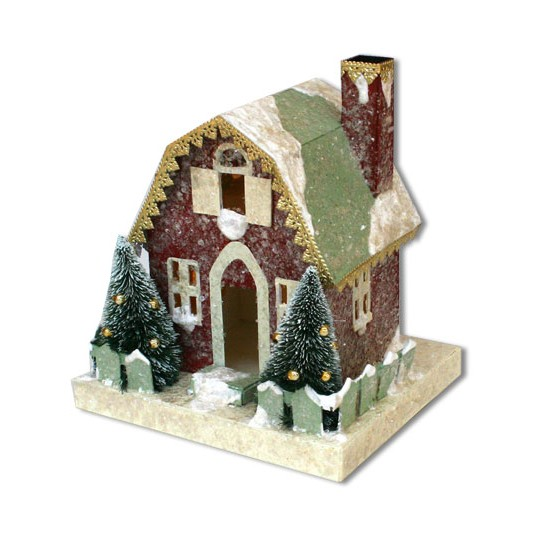 Snowy Putz Village Barn ~ Dark Red