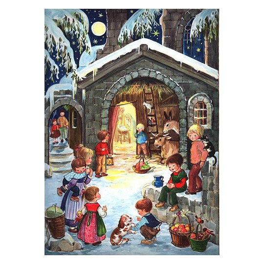 Nativity with Children Vintage Style Advent Calendar