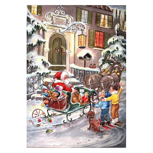 Santa in Sleigh Vintage Style Advent Calendar