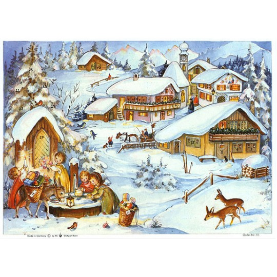 Hillside Village Vintage Style Advent Calendar