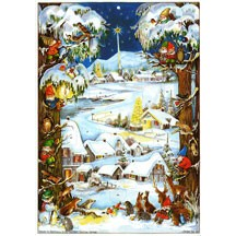 Snowy Village with Gnomes Vintage Style Advent Calendar
