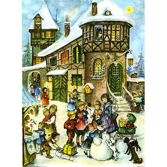 Village Square Vintage Style Advent Calendar