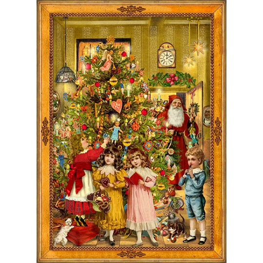 Tree and Children Victorian Style Advent Calendar