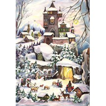 Snowy Castle Vintage Style Advent Calendar
