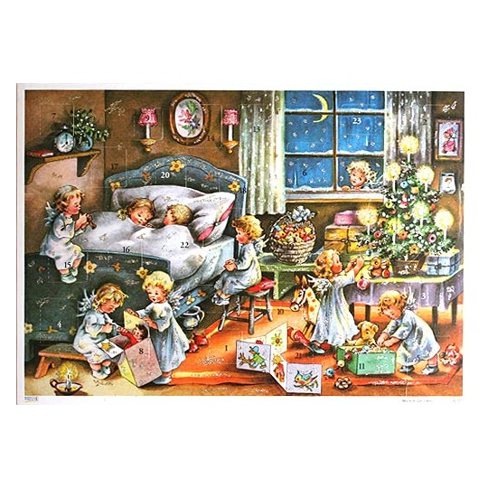 Angels Watching Vintage Style Advent Calendar