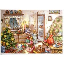 Angels Decorating Traditional Style Advent Calendar