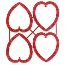 Red Dresden Foil Heart Frames ~ 4