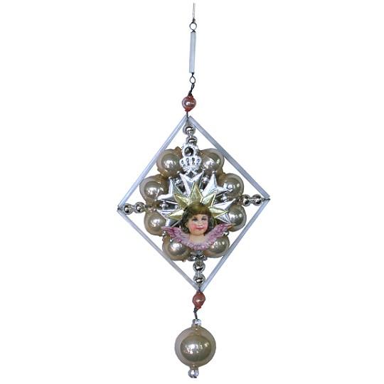 Elegant Beaded Vintage Angel Ornament
