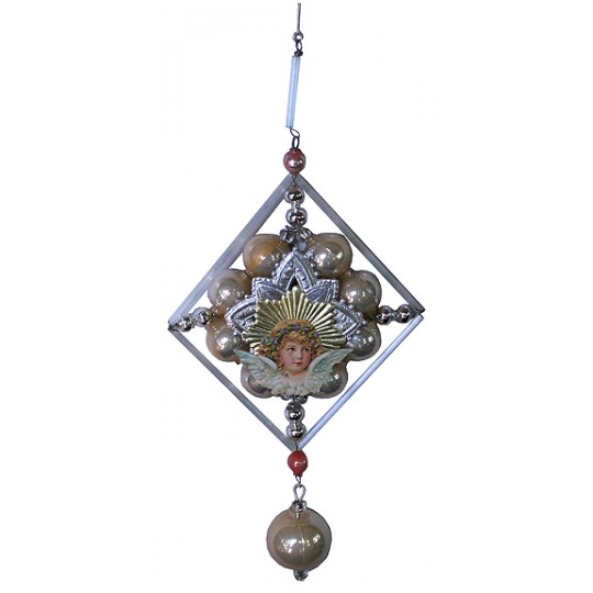 Elegant Beaded Blue Angel Ornament