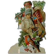 Santa with Child & Robin 3-D Card ~ England